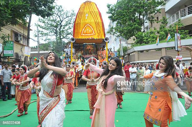 Indian Actress Rituparna SenguptaKoyal Mallick and Srabanti perfrom Indian Dances at the inauguration the ISKON 45th Rath Yatra festival in Kolkata...