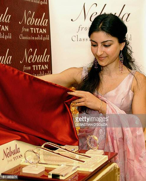 Indian actress Soha Ali Khan launches a new collection of jewellery watches from Titan entitled 'Nebula' in Bombay18 August 2004 Every Nebula watch...