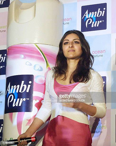 Indian actress Soha Ali Khan takes part in the launch of Ambipur Home Fragrance produced by Godrej Sara Lee Ltd in Mumbai 14 September 2006 Ambipur...