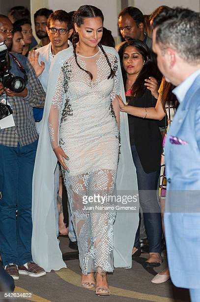 Indian actress Sonakshi Sinha attends the 17th International Indian Film Academy awards press conference at Westin Palace Hotel on June 23 2016 in...