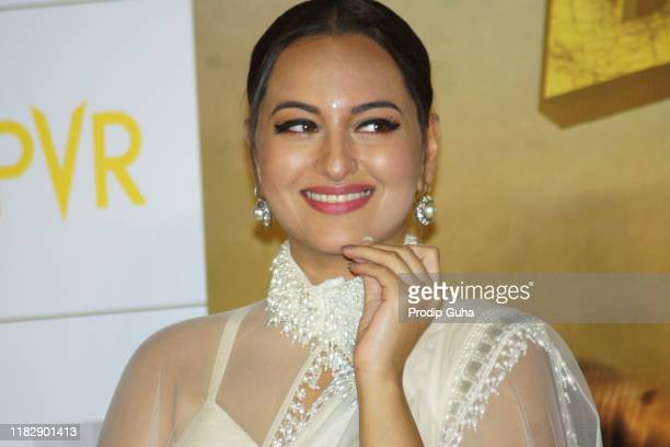 """Indian actress Sonakshi Sinha attends the trailer launch of film """"Davangg 3"""" on October 23, 2019 in Mumbai, India."""