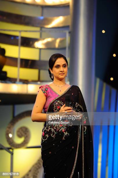 Indian actress Sonali Kulkarni on the set of a televised dance show on April 17 2010 in Mumbai India