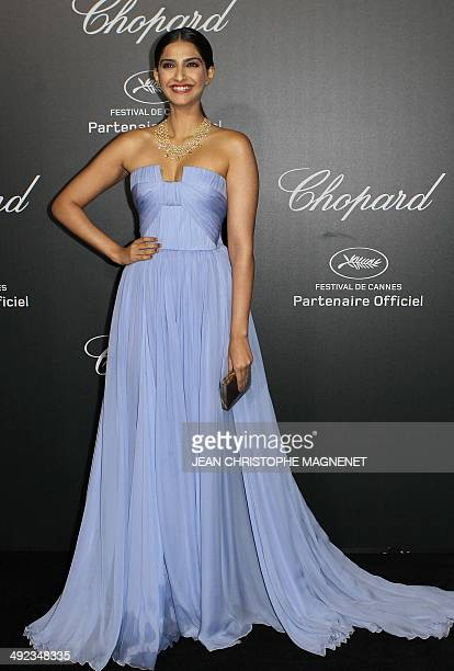 Indian actress Sonam Kapoor arrives to the Chopard 'Backstage party' on the sidelines of the 67th Cannes film festival at the CannesMandelieu...