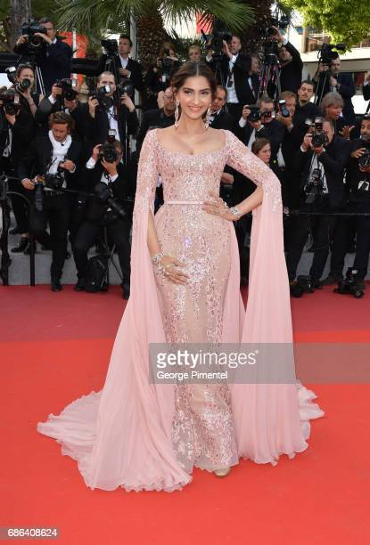 Indian Actress Sonam Kapoor attends 'The Meyerowitz Stories' screening during the 70th annual Cannes Film Festival at Palais des Festivals on May 21...