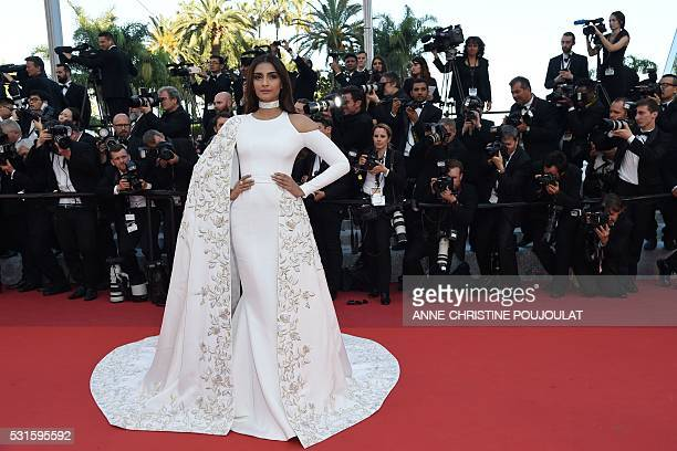 Indian actress Sonam Kapoor poses as she arrives on May 15 2016 for the screening of the film 'Mal de Pierres ' at the 69th Cannes Film Festival in...