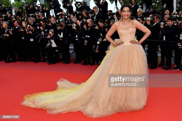 """Indian actress Sonam Kapoor poses as she arrives on May 15, 2018 for the screening of the film """"Solo : A Star Wars Story"""" at the 71st edition of the..."""