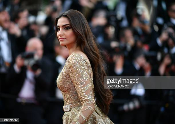 Indian actress Sonam Kapoor poses as she arrives on May 22 2017 for the screening of the film 'The Killing of a Sacred Deer' at the 70th edition of...