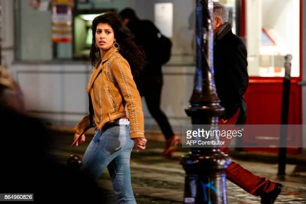 Indian actress Tina Desai is pictured on the set of Netflix TV scifi series Sense8 in the Montmartre area of Paris on october 21 2017 / AFP PHOTO /...