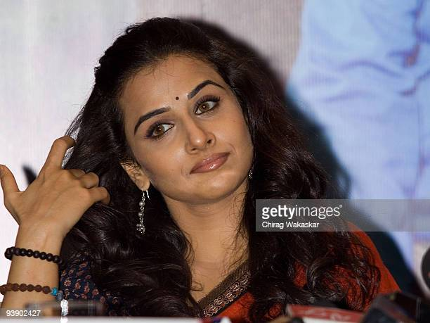 Indian actress Vidya Balan adresses the media at the Paa press conference held at Taj Land's End on December 3 2009 in Mumbai India