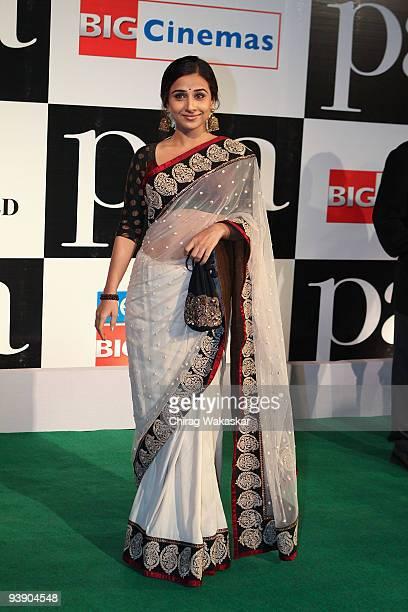 Indian actress Vidya Balan attends the Premiere of Paa held at Big Cinemas on December 3 2009 in Mumbai India