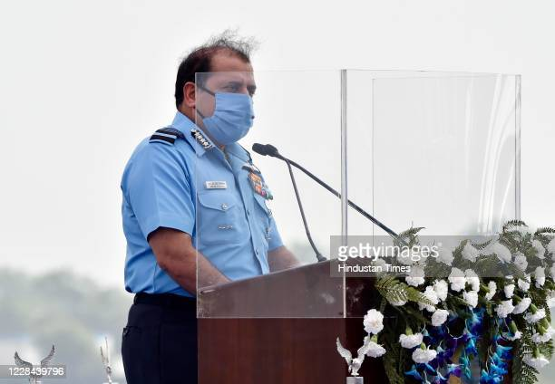 Indian Air Chief Marshal Rakesh Kumar Singh Bhadauria address the gathering during the induction ceremony of Rafale aircrafts, at Indian Air Force...