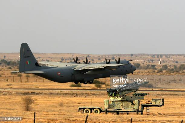 Indian Air Force aircraft during the an IAF excercise named ' Vayu Shakti2019' at the Air Force firing range of Pokhran Rajasthan India on Feb 162019