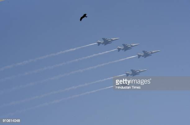 Indian Air Force aircrafts fly past over Rajpath during the Republic Day Parade at Rajpath on January 26 2018 in New Delhi India India celebrated its...