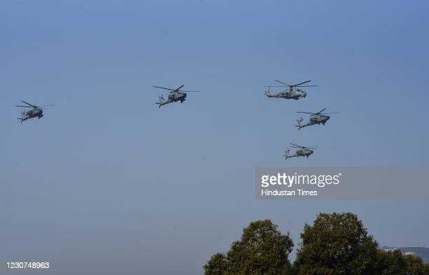 Indian air Force Apache helicopters seen during full dress rehearsal for the Republic Day parade on January 23, 2020 in New Delhi, India.