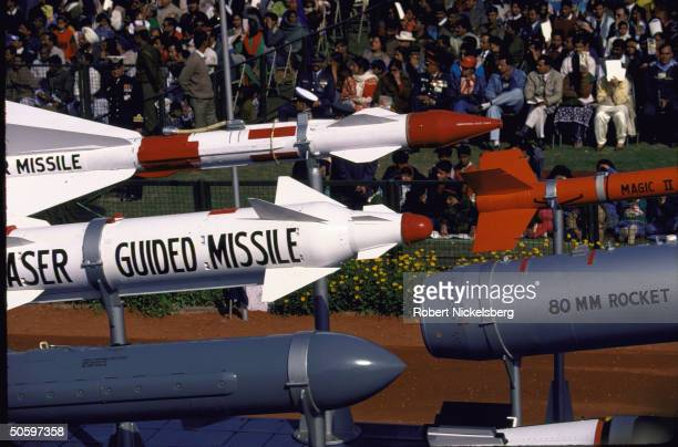 Indian Air Force armament incl. 80mm rocket pod, Magic II & laser-guided missiles on display in Republic Day parade.