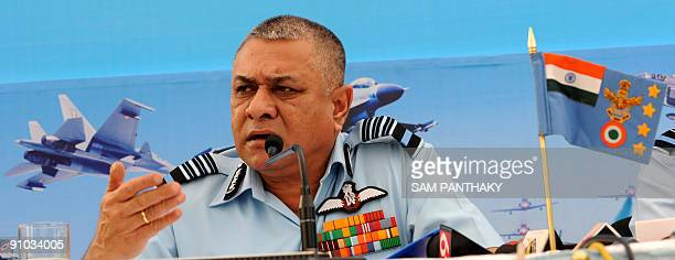 Indian Air Force Chief of Air Staff Marshal PV Naik gives a press conference at South Western Air Command Headquarters in Gandhinagar some 30 km from...