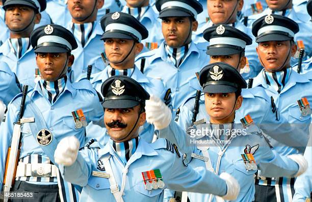 Indian Air Force contingents marching during the 65th Republic Day parade at Rajpath on January 26 2014 in New Delhi India India adopted its...