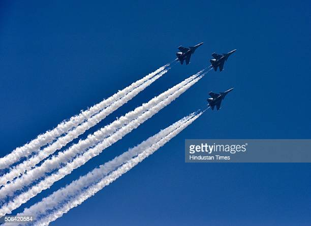 Indian Air Force fighter aircrafts fly past during a full dress rehearsal of the Republic Day Parade on January 23 2016 in New Delhi India Annual...
