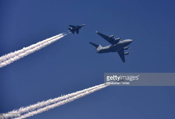 Indian Air Force fighter planes fly over Rajpath during the rehearsals ahead of the Republic Day Parade on January 20 2019 in New Delhi India