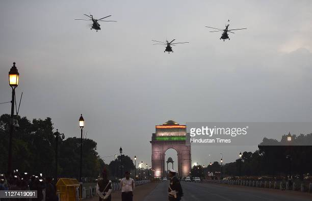 Indian Air force helicopters Fly Pass during the inauguration of National War Memorial, near India Gate on February 25, 2019 in New Delhi, India.