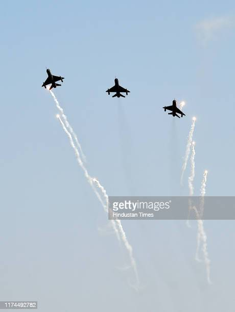 Indian Air Force MIG 21 Bison led by Abhinandan Varthaman during the 87th Air Force Day at the Air Force Station at Hindon on October 8 2019 in...