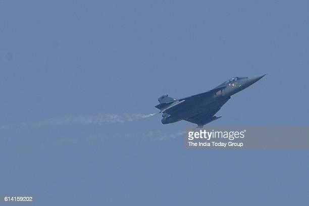 Indian Air Force Mirage 2000 performs a manoeuvre on the occasion of the 84th Air Force Day parade at Hindon Air Force base in Ghaziabad