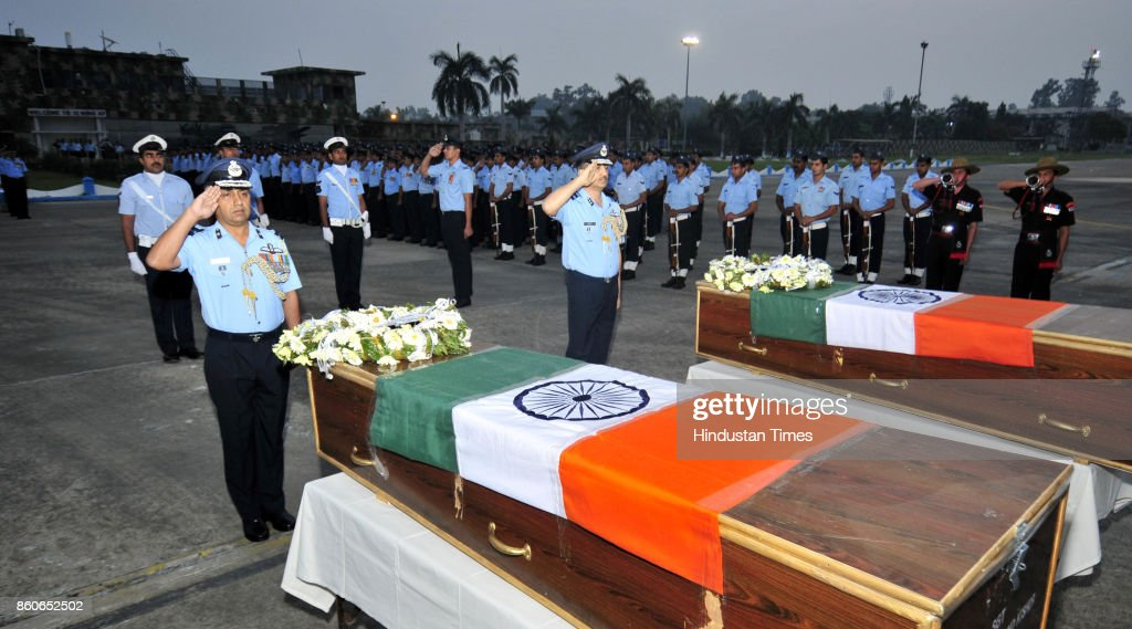 Indian Air Force officials during the wreath laying ceremony of two Garud Commandos Sergeant K Milind Kishor and Corporal Nilesh Kumar Nayan at Air...