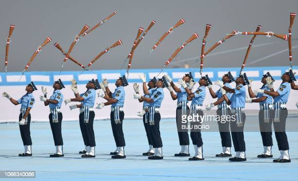 TOPSHOT Indian Air Force recruits perform a drill during the presentation of the Indian President's Standards and Colours by Indian President Ram...