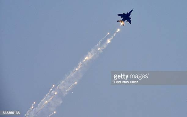 Indian Air Force Tejas Fighter plane first time performing a manoeuvre during the 84th anniversary celebration of Air Force Day parade at the Hindon...