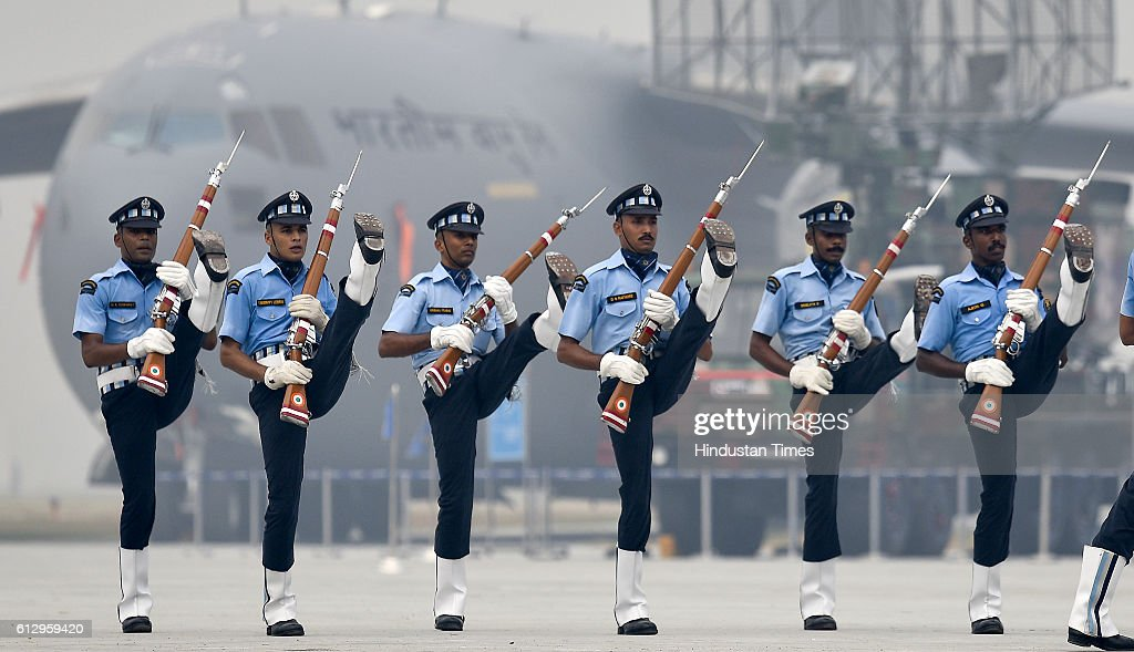 Indian Air Force's 'Air Warrior' drill team performs during the 84th anniversary of Air Force Day parade rehearsals at the Air Force Station Hindon on October 6, 2016 in Ghaziabad, India. Air Force Day 2016 would be celebrated all over India on Saturday, 8th October.