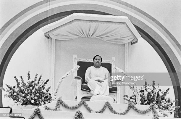 Indian American spiritual teacher Prem Rawat, aka Guru Maharaj Ji or Maharaji, spreading the teachings of the Divine Light Mission at Alexandra...