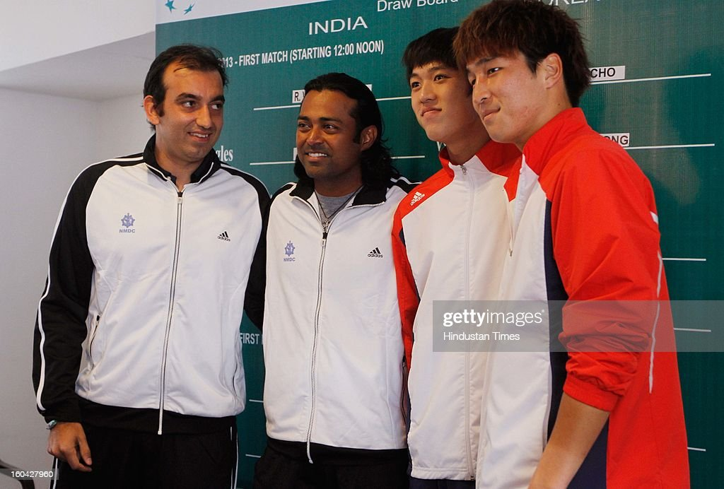 Indian and Korean doubles pairs after the draw for Davis Cup Asia/Oceania Group I at Delhi Lawn Tennis Association (DLTA) tennis court on January 31, 2013 in New Delhi, India.