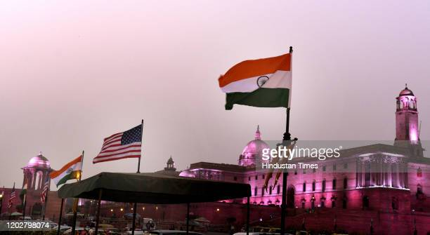 Indian and US national flags are placed on light posts ahead of US President Donald Trumps visit, near Rashtrapati Bhavan, Rajpath, on February 23,...
