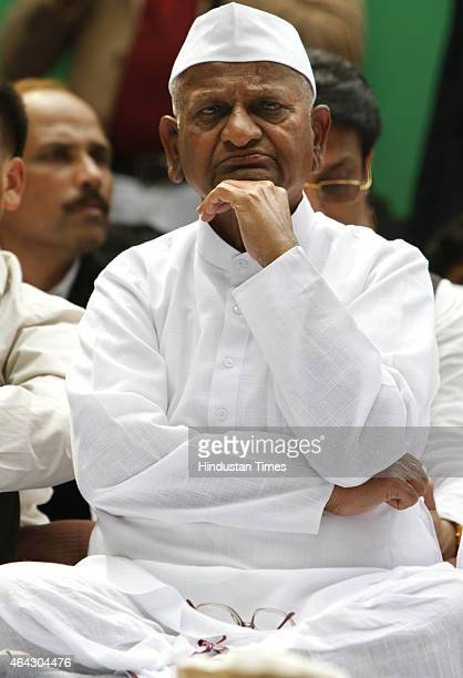 Indian anticorruption activist Anna Hazare during a protest at Jantar Mantar on February 24 2015 in New Delhi India Indian activist Anna Hazare...
