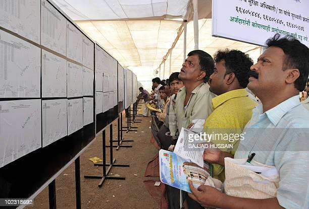 Indian applicants look at a board giving results of a housing ballot in Mumbai on May 18 2010 Local lowcost housing authority The Mumbai Housing and...