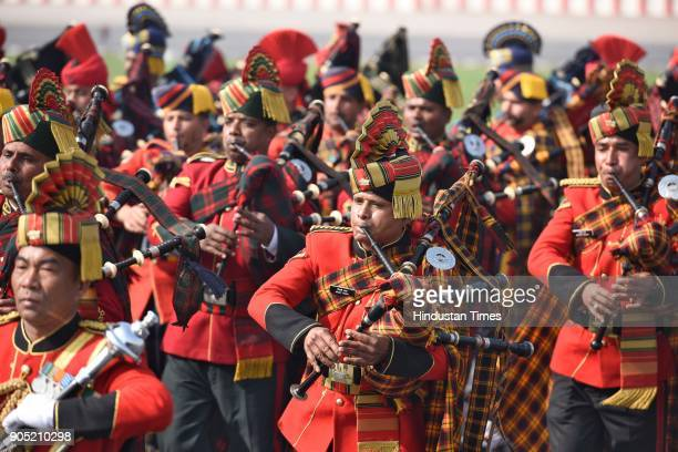Indian Army band members perform during the Army Day Parade 2018 at Delhi cant on January 15 2018 in New Delhi India This year the 70th Army Day is...