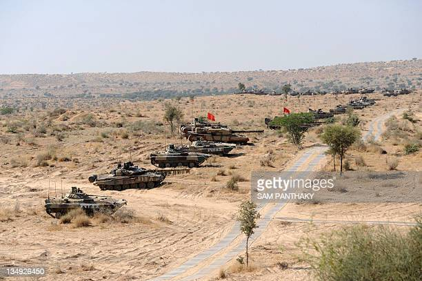 Indian Army battle tanks participate in the Indian Army Exercise Sudarshan Shakti in Barmer distrcit in Rajasthan on December 5 2011Exercise...