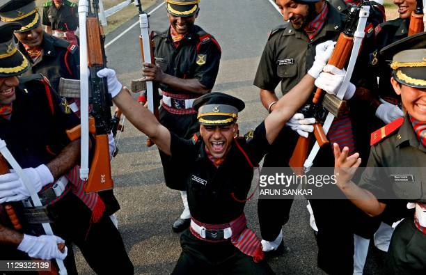 Indian army cadets celebrate after their graduation ceremony at the Officers Training Academy in Chennai on March 9 2019 A total of 142 cadets...