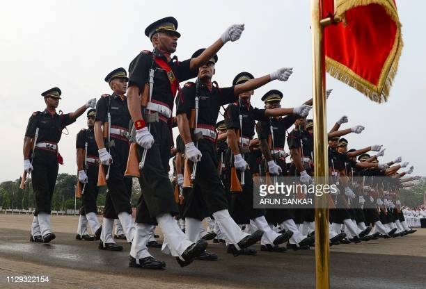 Indian army cadets march during their graduation ceremony at the Officers Training Academy in Chennai on March 9 2019 A total of 142 cadets including...