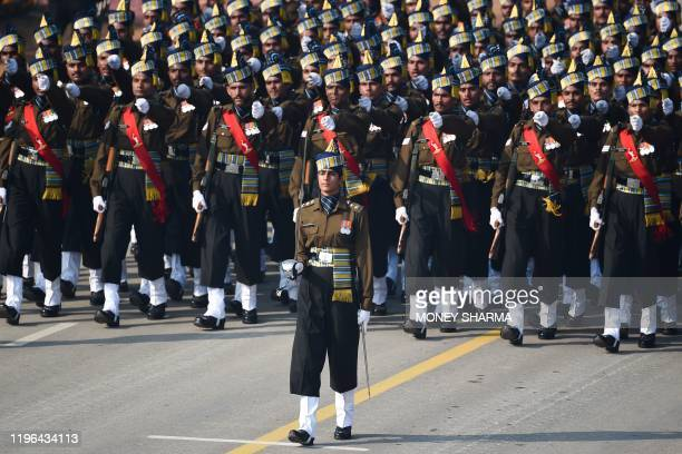 Indian Army captain Tania Shergill leads an allmale contingent as they march along Rajpath during the Republic Day parade in New Delhi on January 26...