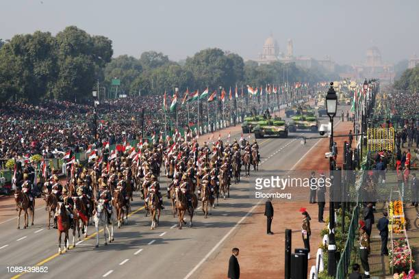 Indian army cavalry and T90 tanks move along the Rajpath during the Republic Day parade in New Delhi India on Saturday Jan 26 2019 India celebrates...