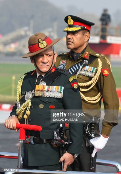 Indian army chief Bipin Rawat inspects the army Day parade in New Delhi on January 15 2018 The Indian army celebrated the 70th anniversary of the...
