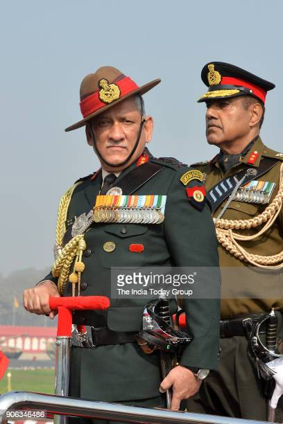 Indian army chief Bipin Rawat inspects the army Day parade in New Delhi
