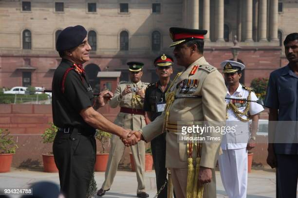 Indian Army Chief Deepak Kapoor with Commander of the Sri Lanka Army Lt Gen GS C Fonseka during a meeting in New Delhi