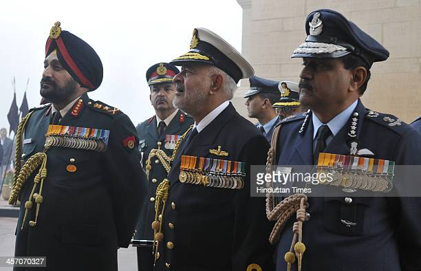 Indian Army Chief General Bikram Singh Indian navy chief admiral Devendra Kumar Joshi Indian Air force chief Nak Browne after paying homage to the...