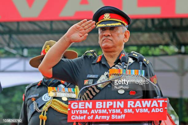 Indian Army Chief General Bipin Rawat addressing during the centenary celebration of Battle of Haifa 19182018 at 61 Cavalry Ground in...
