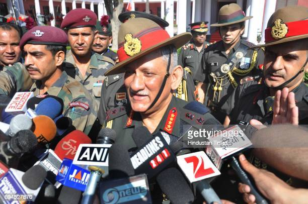 Indian Army Chief General Bipin Rawat interacting with media persons after the Passing Out Parade at Indian Military Academy on June 10 2017 in...