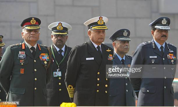 Indian Army Chief General VK Singh Navy Chief Admiral Nirmal Verma and Chief of Air Staff Air Chief Marshal NAK Browne pay homage at Rajghat the...