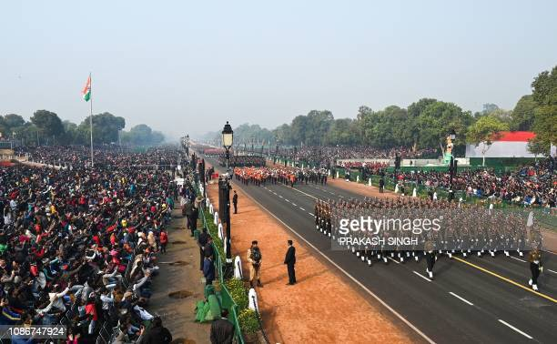 Indian army contingents march during the full dress rehearsal for the upcoming Republic Day parade in New Delhi on January 23 2019 India will be...