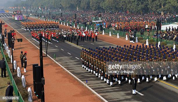 Indian Army contingents march during the full dress rehearsal for the upcoming Indian Republic Day parade in New Delhi on January 23 2017 Crown...